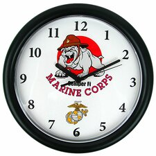 """9.75"""" Deluxe Chiming US Marine Wall Clock"""