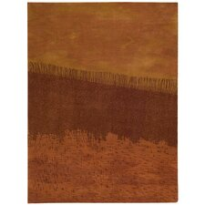 Luster Wash Fringe Ikat Autumn Area Rug