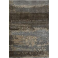 Luster Wash Gray & Blue Slate Scene Area Rug