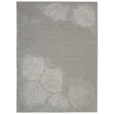 Reflective Etched Flower Birch Area Rug