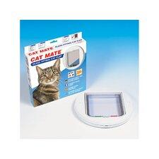 Katzentür 4-Wege Sicherheitsschloss mit Glaseinsatz in Weiss