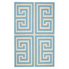 Greek Key Blue Geometric Area Rug