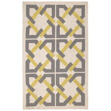 Geometric Tile Yellow/Grey Area Rug