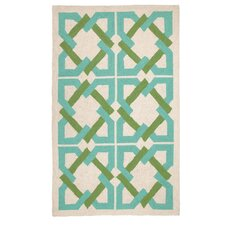 Geometric Tile Blue/Green Area Rug