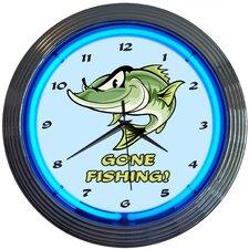 "15"" Gone Fishing Neon Clock"