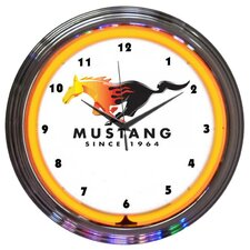 """15"""" Ford Mustang Since 1964 Orange Neon Clock"""