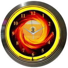 "Bar and Game Room 15"" Billiards 9 Ball Fire Wall Clock"