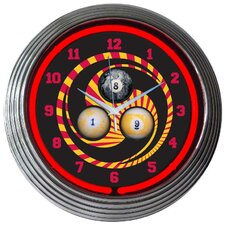 "Bar and Game Room 15"" Billiard 1,8,9 Wall Clock"