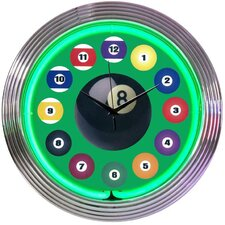 "Bar and Game Room 15"" Billiard Ball Wall Clock"