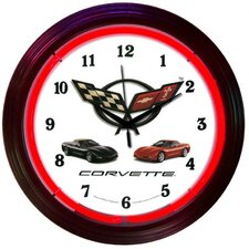 """Cars and Motorcycles 15"""" Corvette Wall Clock"""