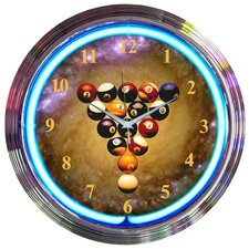 "Bar and Game Room 15"" Billiards Space Balls Wall Clock"