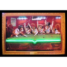 Bar & Game Room Dogs Playing Pool Neon LED Framed Vintage Advertisement