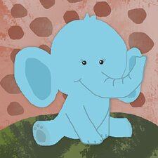 Blue Baby Elephant Canvas Art