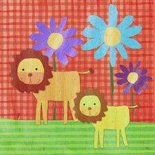 Lions on Color Canvas Art