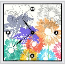 "Spring Floral Shapes 16"" Art Wall Clock"