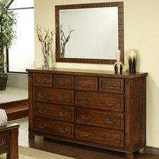 Fergus County 10 Drawer Dresser with Mirror