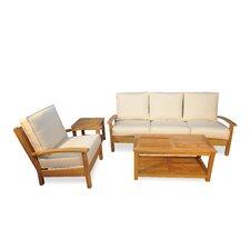 4 Piece Teak Deep Seating Group with Cushion