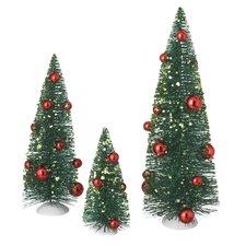 3 Piece Green Artificial Christmas Tree Decor Set (Set of 3)