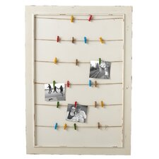 Home Away Framed Message Board with Colored Clothespins