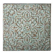 Victory Distressed Blue Flower Wall Décor
