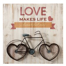 "Borough ""Love Makes Life a Beautiful Ride"" with Bicycle Wall Décor"
