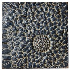 Victory Distressed Midnight Flower Wall Décor