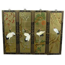 Gold Leaf 4 Piece Original Painting Plaque Set