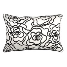 Floral Embroidery Lumbar Pillow
