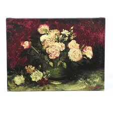"""Roses and Peonies"" by Vincent Van Gogh Painting Print on Wrapped Canvas"