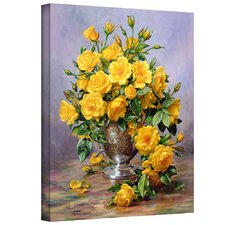 'Roses in a Silver Vase' by Albert Williams Painting Print on Wrapped Canvas