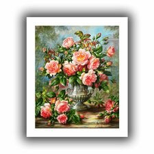 'English Elegance Roses in a Silver Vase' by Albert Williams Painting Print on Canvas