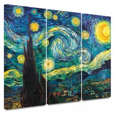 'Starry Night' by Vincent Van Gogh 3 Piece Painting Print on Wrapped Canvas Set