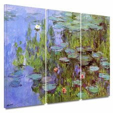 'Sea Roses' by Claude Monet 3 Piece Painting Print on Wrapped Canvas Set