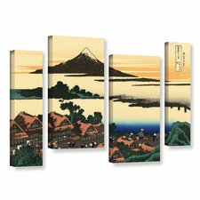 Dawn at Isawa in the Kai Province by Katsushika Hokusai 4 Piece Painting Print on Gallery Wrapped Canvas Set
