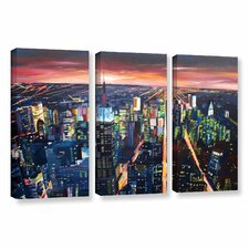 """""""New York City-The Empire State Building At Night"""" by Marcus/Martina Bleichner 3 Piece Painting Print on Wrapped Canvas Set"""
