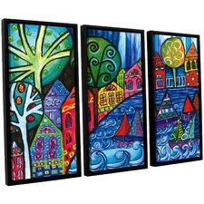 'The Watershed' by Debra Purcell 3 Piece Framed Painting Print on Canvas Set