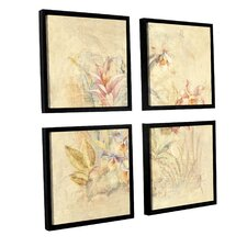 'Tropical Square I' by Cheri Blum 4 Piece Framed Painting Print on Canvas Set