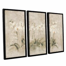'White Dancing Orchids' by Cheri Blum 3 Piece Framed Painting Print on Canvas Set