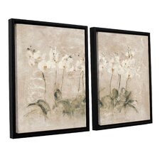 'White Dancing Orchids' by Cheri Blum 2 Piece Framed Painting Print on Canvas Set