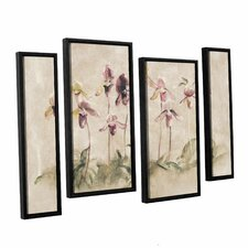 'Purple Dancing Orchids' by Cheri Blum 4 Piece Framed Painting Print on Canvas Set