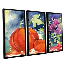 'Mums and Pumpkins' by Anne Tavoletti 3 Piece Framed Painting Print on Canvas Set