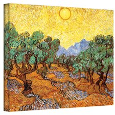 """Olive Grove with Yellow Sky"" by Vincent Van Gogh Painting Print on Canvas"