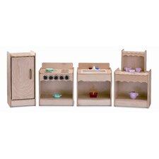 4 Piece Contempo Wood Kitchen Set