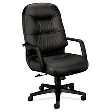 Pillow-Soft High-Back Leather Executive Chair with Arms