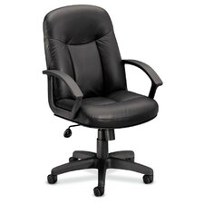 Basyx Mid-Back Leather Swivel / Tilt Conference Chair with Arms