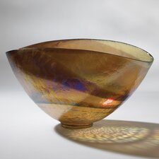 Golden Large Iridescent Oval Decorative Bowl