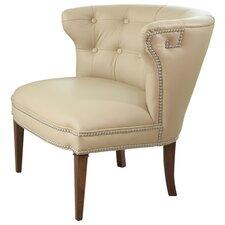 Greek Key Klismos Leather Slipper Chair