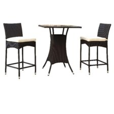 Delray 3 Piece Bar-Height Dining Set with Cushions
