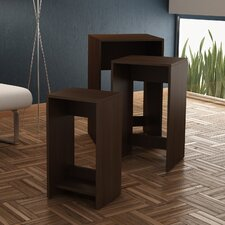 Accentuations Refined 3- Saffle Nested Side Table 1.0 with  1 Shelf in Tobacco