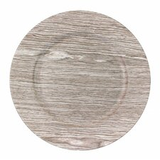 """13"""" Faux Wood Charger Plate (Set of 4)"""